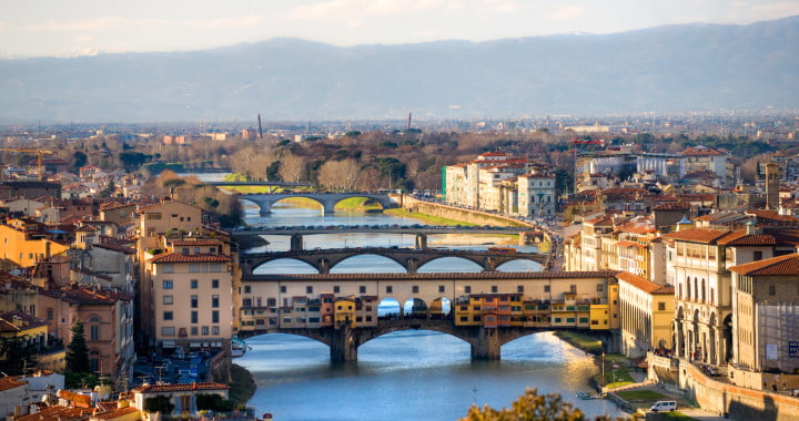 Panoramic view of Florence and Ponte Vecchio.